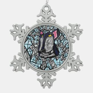 オオカミおよびダイヤモンド スノーフレークピューターオーナメント