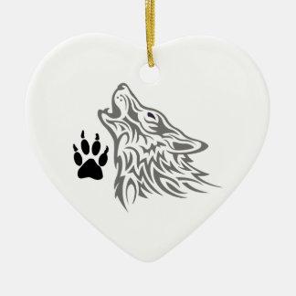 オオカミおよび足のプリント 陶器製ハート型オーナメント