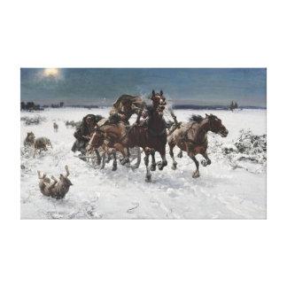オオカミによって追求されるアルフレッドKowalski キャンバスプリント