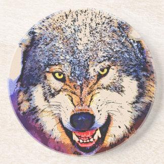 オオカミのクローズアップのコースター コースター