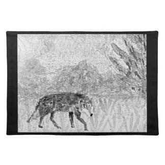 オオカミのスケッチの野生動物の芸術 ランチョンマット