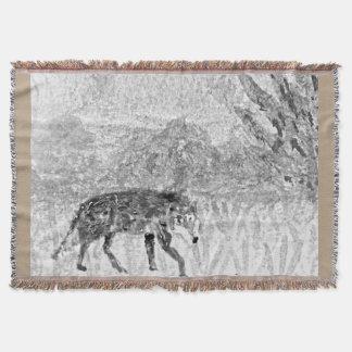 オオカミのスケッチの野生動物の芸術 毛布