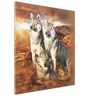 オオカミのトリオのcavasの覆いの三パネル キャンバスプリント