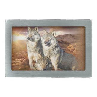 オオカミのトリオ 長方形ベルトバックル
