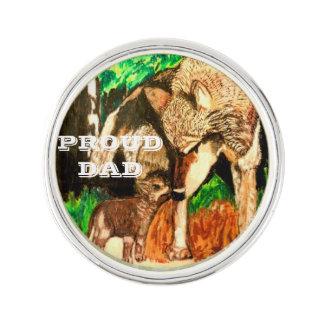 オオカミのパパおよびカブスの折りえりピン ラペルピン