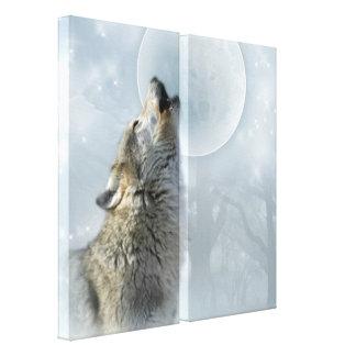 オオカミのブルームーンのキャンバス キャンバスプリント