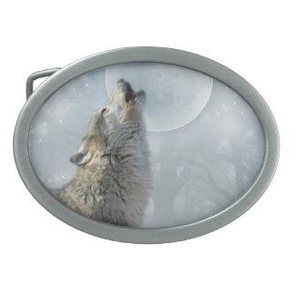 オオカミのブルームーン 卵形バックル