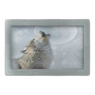 オオカミのブルームーン 長方形ベルトバックル