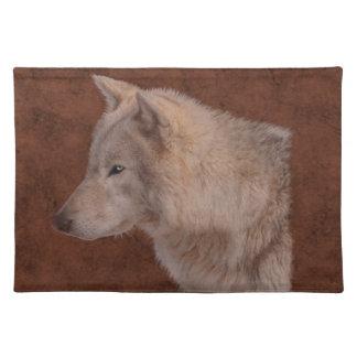 オオカミのポートレートの野性生物の芸術 ランチョンマット