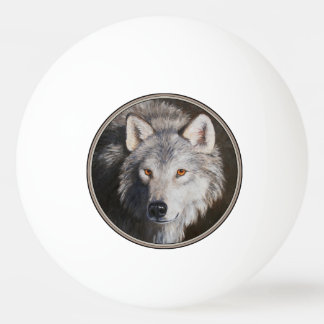 オオカミのポートレート 卓球ボール