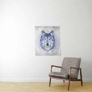 オオカミのポートレート-幾何学的なパターン タペストリー