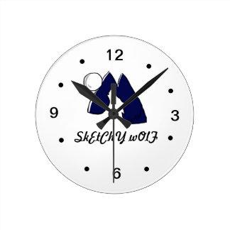 オオカミのロゴの時計 ラウンド壁時計