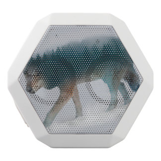 オオカミの二重露光-オオカミの森林-オオカミ米国 ホワイトBluetoothスピーカー