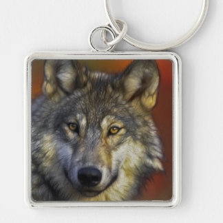 オオカミの写真の顔 キーホルダー