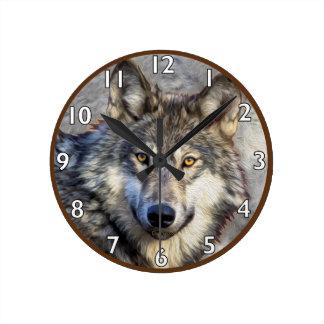 オオカミの威厳 ラウンド壁時計