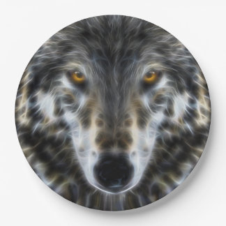 オオカミの感動的なデザインのポートレート ペーパープレート