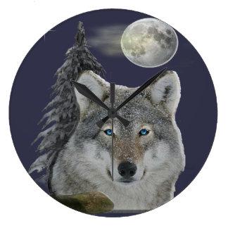 オオカミの時計 ラージ壁時計