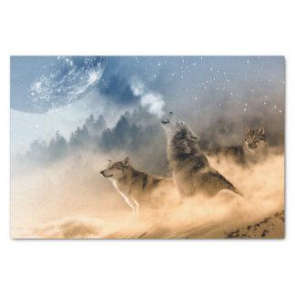 オオカミの月の霧の自然の景色 薄葉紙