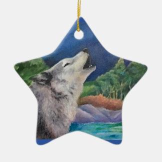 オオカミの歌のオーナメント セラミックオーナメント