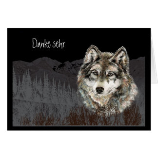 オオカミの水彩画のDankeのsehrの   ドイツ語 カード