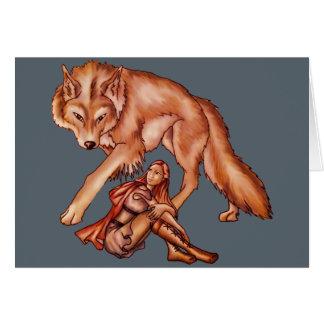 オオカミの漫画のスケッチが付いている赤い乗馬フード カード