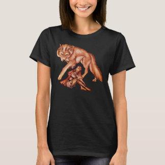 オオカミの漫画のスケッチが付いている赤い乗馬フード Tシャツ