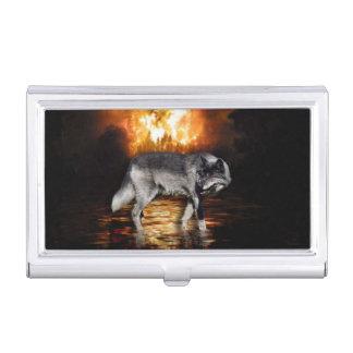 オオカミの火は生存者を炎にあてます 名刺入れ
