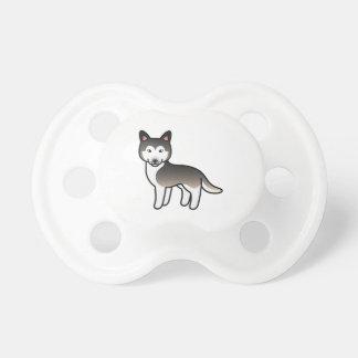 オオカミの灰色の漫画のシベリアンハスキー犬 おしゃぶり