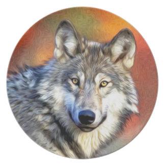 オオカミの芸術の絵画 プレート