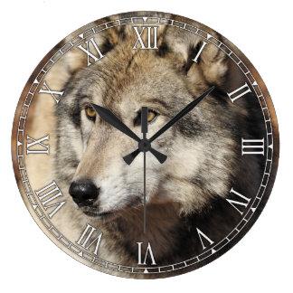 オオカミの装飾的な柱時計 ラージ壁時計