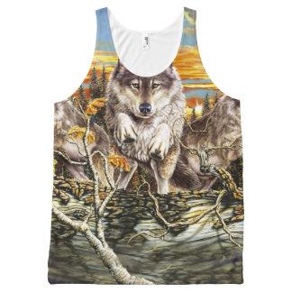オオカミの走ることパック オールオーバープリントタンクトップ