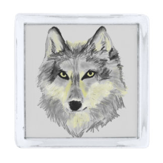 オオカミの頭部 シルバー ラペルピン