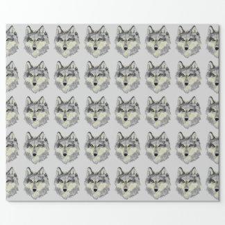 オオカミの頭部 ラッピングペーパー