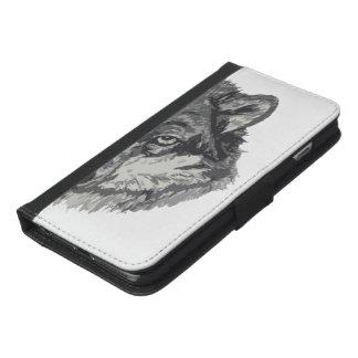 オオカミの顔のウォレットケース-シンプルな背景 iPhone 6/6S PLUS ウォレットケース