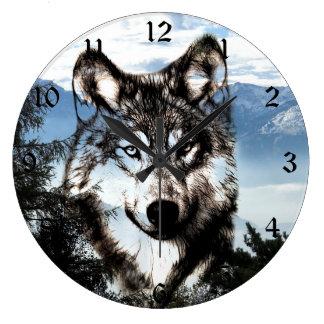 オオカミの顔 ラージ壁時計