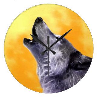 オオカミは満月で遠ぼえします ラージ壁時計