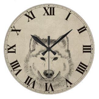 オオカミ力 ラージ壁時計