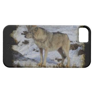 オオカミ及び雪のオオカミ恋人の野生動物の男性指導者 iPhone SE/5/5s ケース