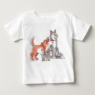 オオカミ家族の乳児のTシャツ ベビーTシャツ