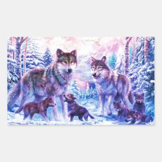 オオカミ家族 長方形シール