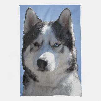 オオカミ犬タオルのハスキーなマラミュートのふきん キッチンタオル