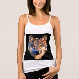 オオカミ-オオカミの顔 タンクトップ