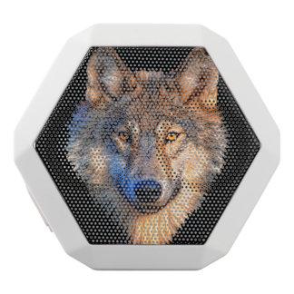 オオカミ-オオカミの顔 ホワイトBluetoothスピーカー