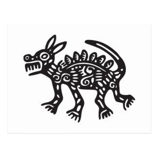 オオカミ、メキシコヒエログリフ(マヤ) ポストカード