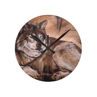 オオカミ ラウンド壁時計