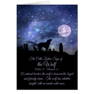 オオカミ、蠍座のケルト族の(占星術の)十二宮図の印 カード