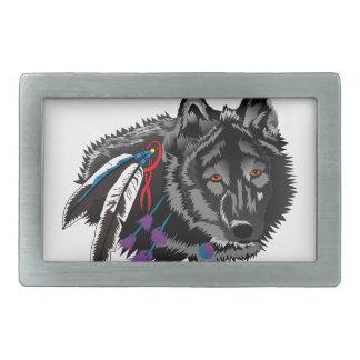 オオカミ 長方形ベルトバックル