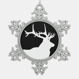 オオシカの頭部 スノーフレークピューターオーナメント