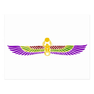 オオタマオシコガネのカブトムシのエジプトの郵便はがき-金ゴールド及び白 ポストカード