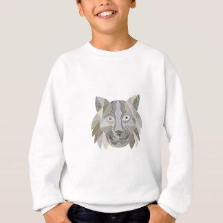 オオヤマネコ猫の頭部の低い多角形 スウェットシャツ